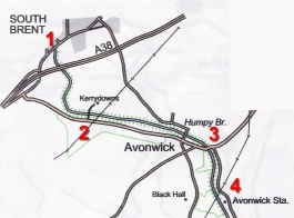 map from South Brent to Brushford Bridge